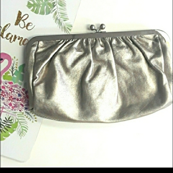 Express Brushed Silver Kiss Lock Clutch Purse